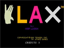 Title screen of Klax on the NEC TurboGrafx-16.