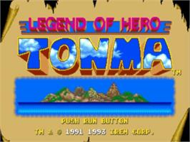 Title screen of Legend of Hero Tonma on the NEC TurboGrafx-16.