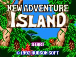 Title screen of New Adventure Island on the NEC TurboGrafx-16.