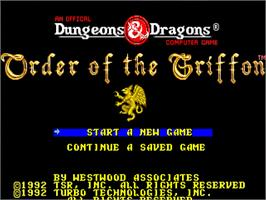 Title screen of Order of the Griffon on the NEC TurboGrafx-16.