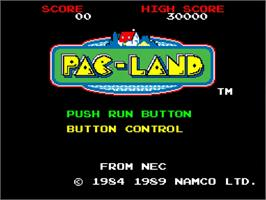 Title screen of Pac-Land on the NEC TurboGrafx-16.