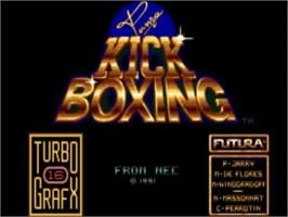 Title screen of Panza Kick Boxing on the NEC TurboGrafx-16.