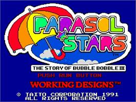 Title screen of Parasol Stars: The Story of Bubble Bobble III on the NEC TurboGrafx-16.