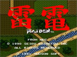 Title screen of Raiden on the NEC TurboGrafx-16.