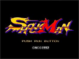 Title screen of Shockman on the NEC TurboGrafx-16.