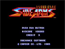 Title screen of Side Arms Hyper Dyne on the NEC TurboGrafx-16.