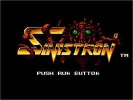 Title screen of Sinistron on the NEC TurboGrafx-16.