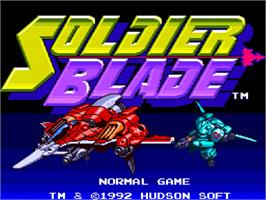 Title screen of Soldier Blade on the NEC TurboGrafx-16.