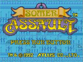 Title screen of Somer Assault on the NEC TurboGrafx-16.
