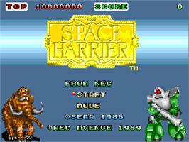 Title screen of Space Harrier on the NEC TurboGrafx-16.
