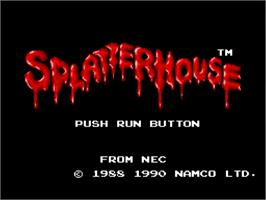 Title screen of Splatterhouse on the NEC TurboGrafx-16.