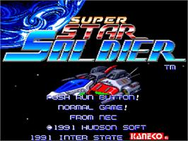 Title screen of Super Star Soldier on the NEC TurboGrafx-16.