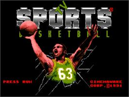 Title screen of TV Sports: Basketball on the NEC TurboGrafx-16.