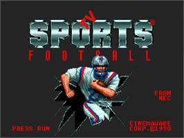 Title screen of TV Sports: Football on the NEC TurboGrafx-16.