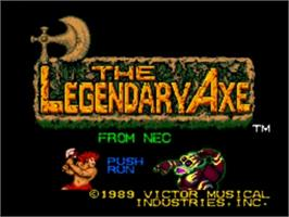 Title screen of The Legendary Axe on the NEC TurboGrafx-16.