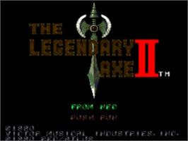 Title screen of The Legendary Axe II on the NEC TurboGrafx-16.