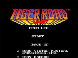 Title screen of Tiger Road on the NEC TurboGrafx-16.