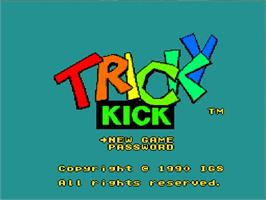 Title screen of Tricky Kick on the NEC TurboGrafx-16.