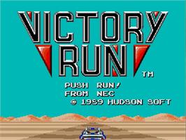 Title screen of Victory Run on the NEC TurboGrafx-16.
