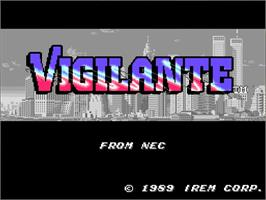 Title screen of Vigilante on the NEC TurboGrafx-16.
