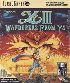 Box cover for Ys III: Wanderers from Ys on the NEC TurboGrafx CD.