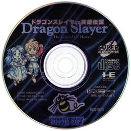 Artwork on the CD for Dragon Slayer: The Legend of Heroes on the NEC TurboGrafx CD.
