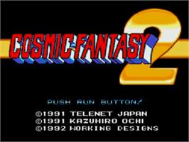 Title screen of Cosmic Fantasy 2 on the NEC TurboGrafx CD.