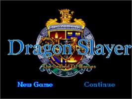 Title screen of Dragon Slayer: The Legend of Heroes on the NEC TurboGrafx CD.