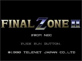 Title screen of Final Zone 2 on the NEC TurboGrafx CD.