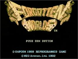 Title screen of Forgotten Worlds on the NEC TurboGrafx CD.