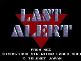 Title screen of Last Alert on the NEC TurboGrafx CD.