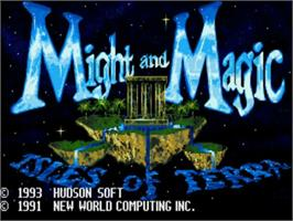 Title screen of Might and Magic III: Isles of Terra on the NEC TurboGrafx CD.