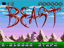 Title screen of Shadow of the Beast on the NEC TurboGrafx CD.