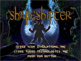 Title screen of Shape Shifter on the NEC TurboGrafx CD.