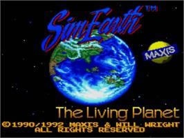 Title screen of Sim Earth: The Living Planet on the NEC TurboGrafx CD.