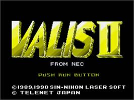 Title screen of Valis 2 on the NEC TurboGrafx CD.
