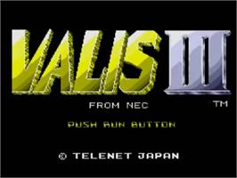 Title screen of Valis 3 on the NEC TurboGrafx CD.