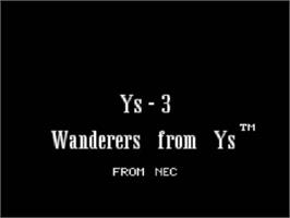 Title screen of Ys III: Wanderers from Ys on the NEC TurboGrafx CD.
