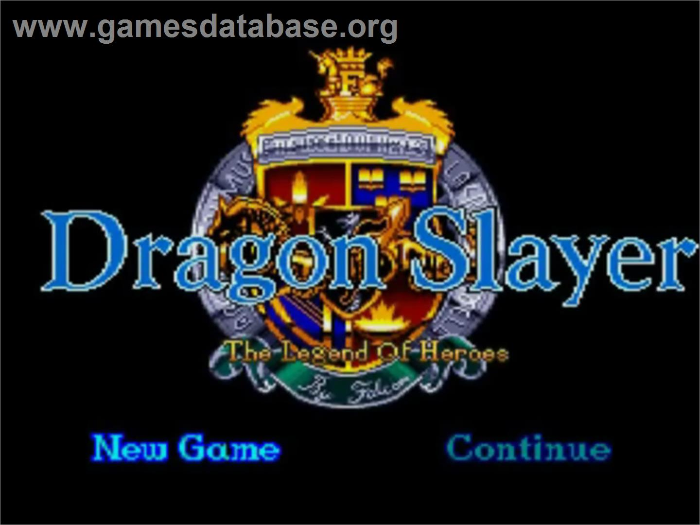Title screen of Dragon Slayer: The Legend of Heroes on the NEC