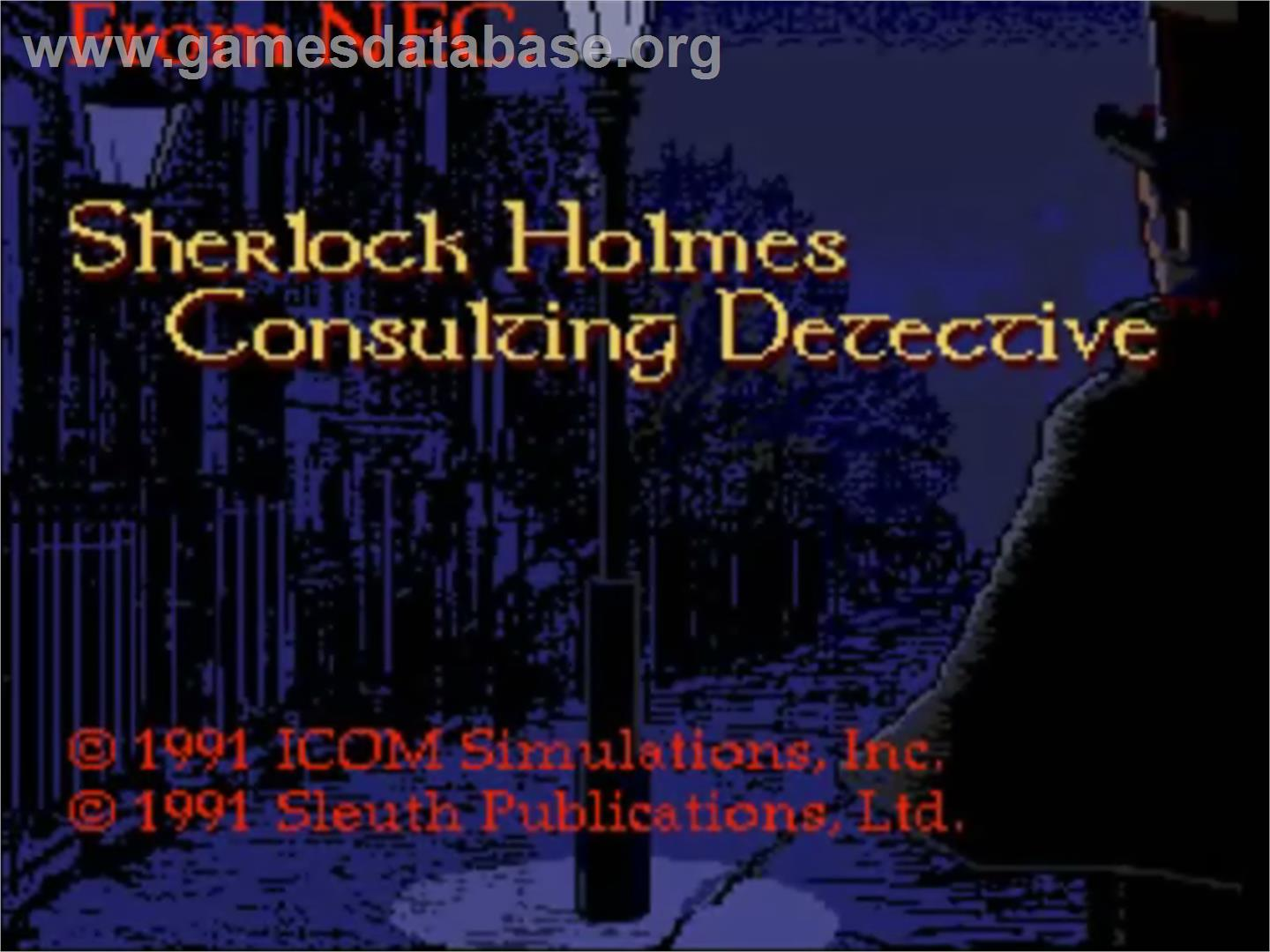 Title screen of Sherlock Holmes: Consulting Detective on the NEC