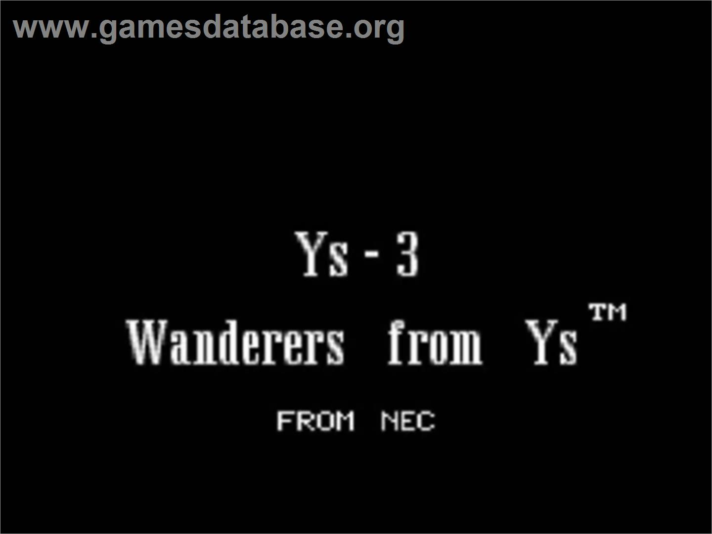 Ys III: Wanderers from Ys - NEC TurboGrafx CD - Artwork - Title Screen