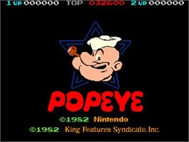 Title screen of Popeye on the Nintendo Arcade Systems.