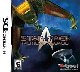Box cover for Star Trek Tactical Assault on the Nintendo DS.