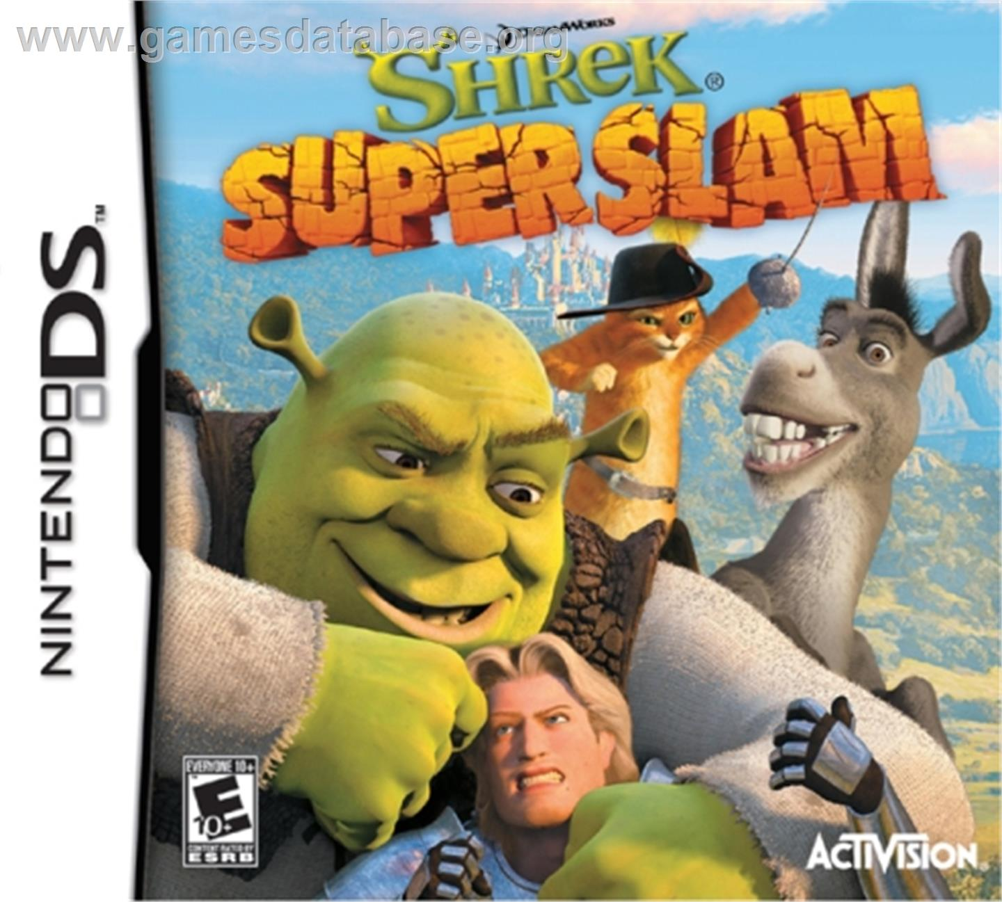 Box cover for Shrek SuperSlam on the Nintendo DS.