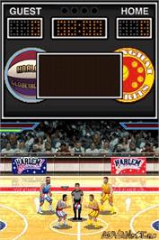 In game image of Harlem Globetrotters: World Tour on the Nintendo DS.