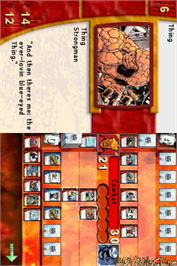 In game image of Marvel Trading Card Game on the Nintendo DS.
