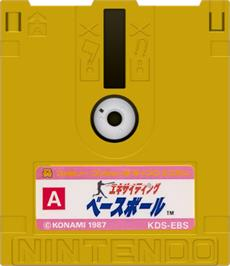 Artwork on the Disc for Exciting Baseball on the Nintendo Famicom Disk System.