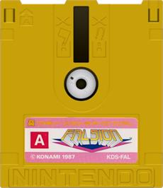 Artwork on the Disc for Falsion on the Nintendo Famicom Disk System.