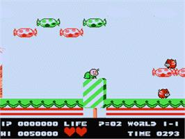 In game image of Bio Miracle Bokutte Upa on the Nintendo Famicom Disk System.