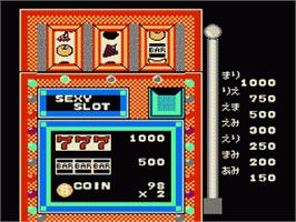 In game image of Bishoujo Sexy Slot on the Nintendo Famicom Disk System.